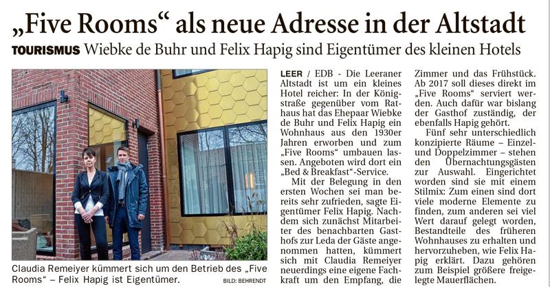 Five Rooms Hotel in der Altstadt von Leer berichtet OZ